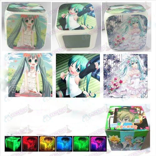 Hatsune three surface color colorful alarm clock
