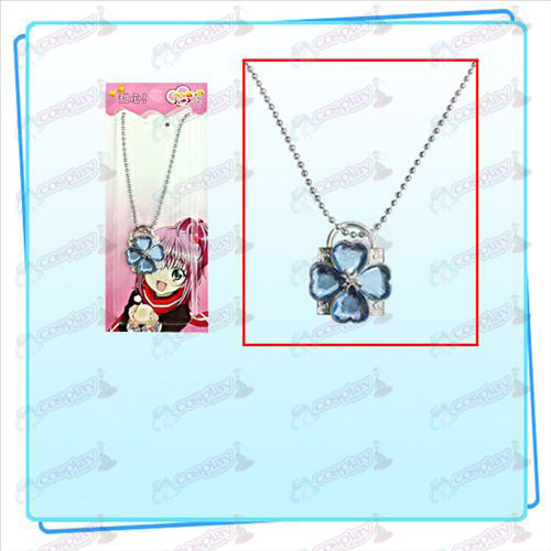 Shugo Chara! Accessories lock necklace (silver lock blue diamond)