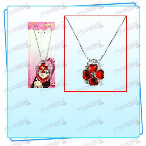 Shugo Chara! Accessories lock necklace (silver lock red diamond)