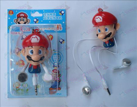 Super Mario Bros Accessories Retractable MP3 Earphone