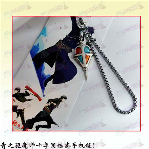 Blue Exorcist Accessories Cross Mission logo phone chain