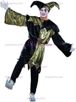 Adult Jolly Jester Costume Lame/Black