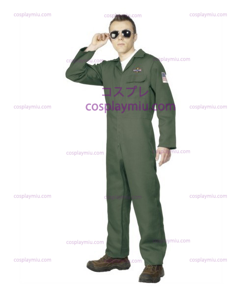 Adult Mens Aviator Topgun Pilot Fancy Dress Costume