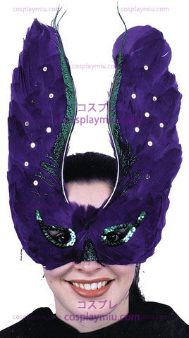 Mask Feather Purpl With Sequin