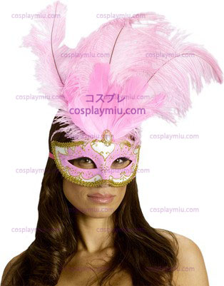 Carnival Mask Big Feather Pink