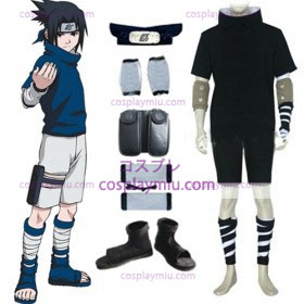 Naruto Sasuke Uchiha Black Cosplay Costume and Accessories Set