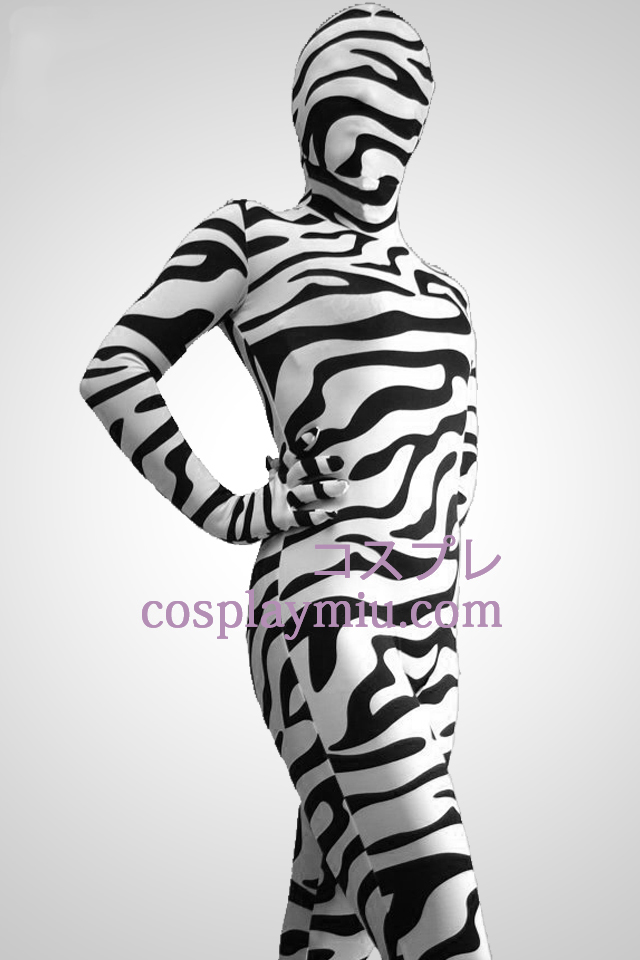 Black And White Zebra Pattern Zentai Suit