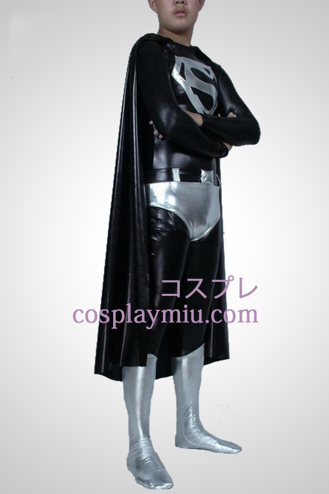 Black And White Shiny Metallic Superman Superhero Zentai