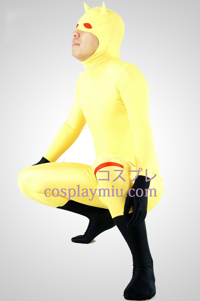 Yellow Lycra Spandex Unisex Animal Zentai Suit With Half Face Open