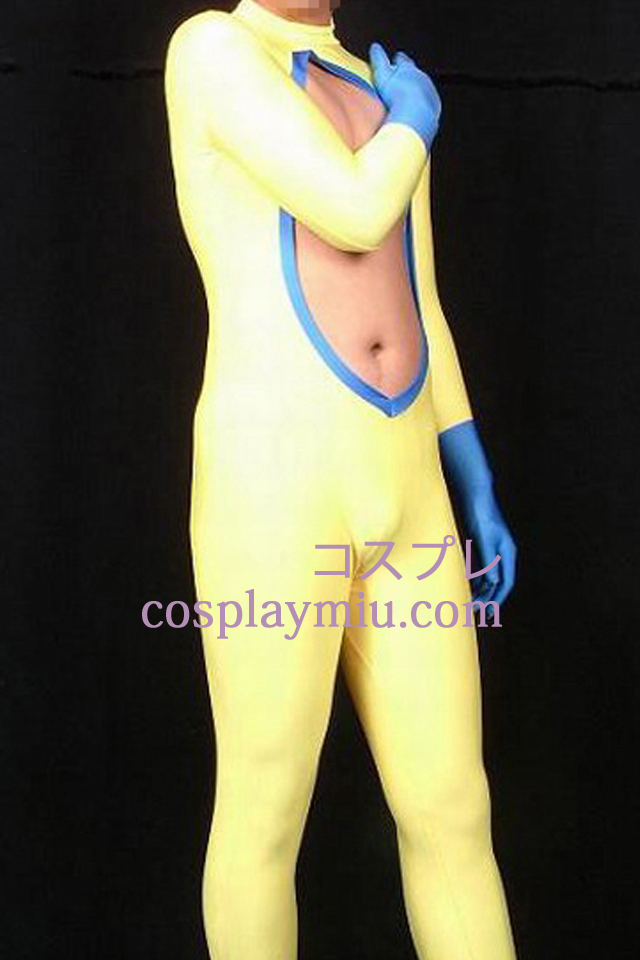 Double Colored Lycra Spandex Catsuit With Cutout Chest