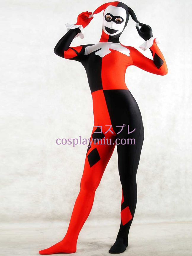 Black White And Red Lycra Spandex Clown Unisex Zentai Suit