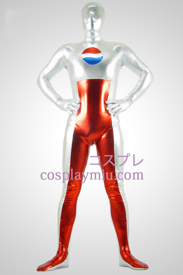 Shiny Metallic Silver and Red Zentai Suit with Pepsi Painting