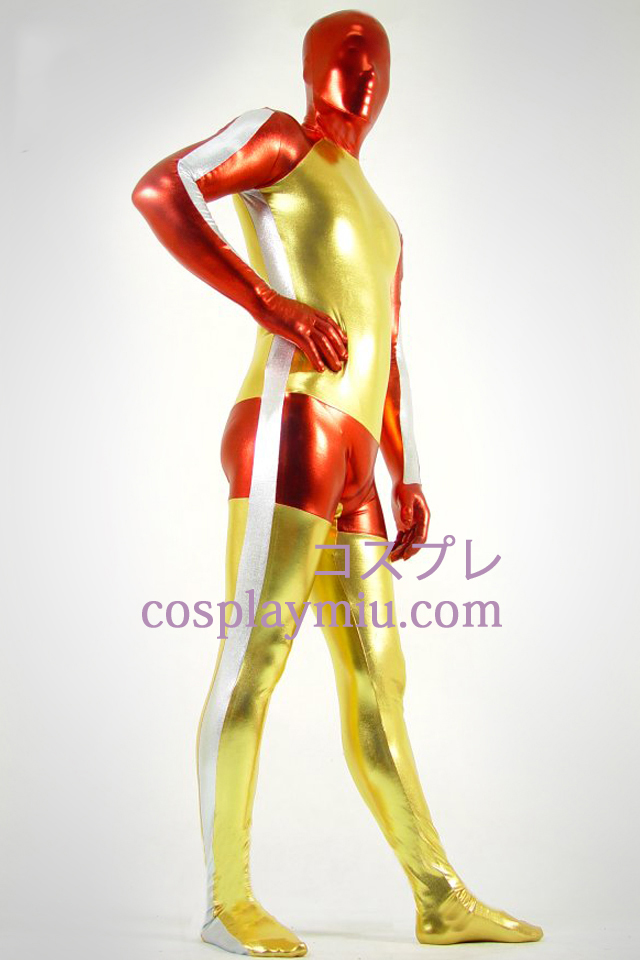 Shiny Metallic Golden Red and White Zentai Suit