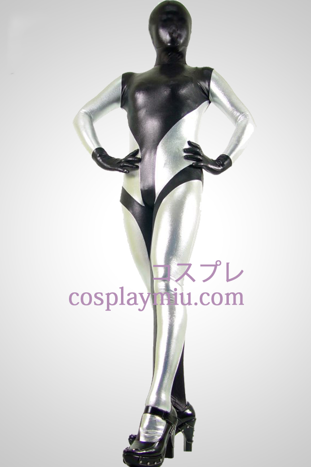 Black And Silver Shiny Metallic Zentai Suit