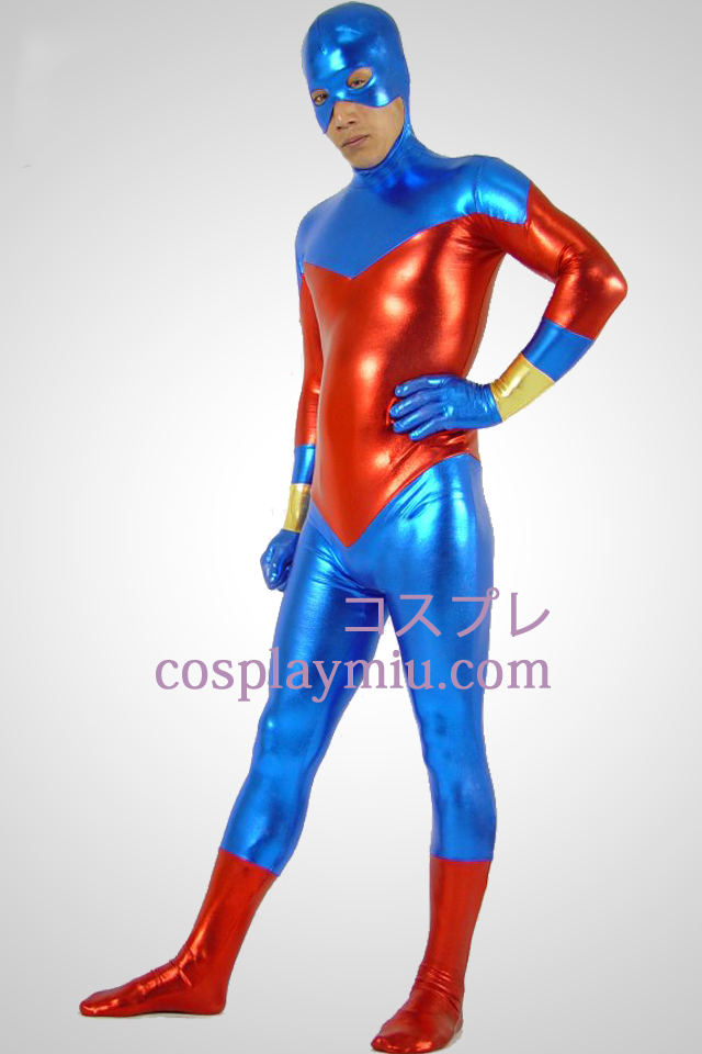 Blue And Red Shiny Metallic Zentai Suit