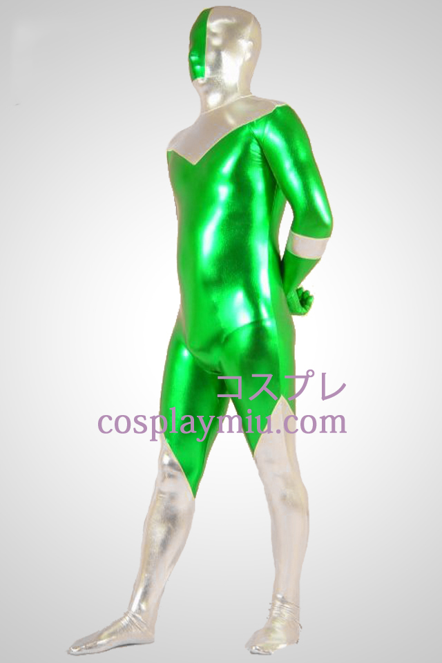 Green And Silver Shiny Metallic Zentai Suit