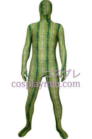 Green Digital Prints Lycra Zentai Suit